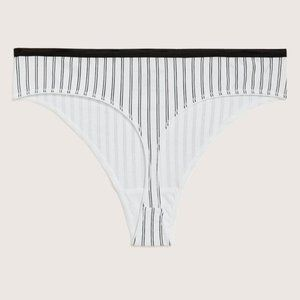 Deesse Pinstriped Cotton Thong Plus sz 4X